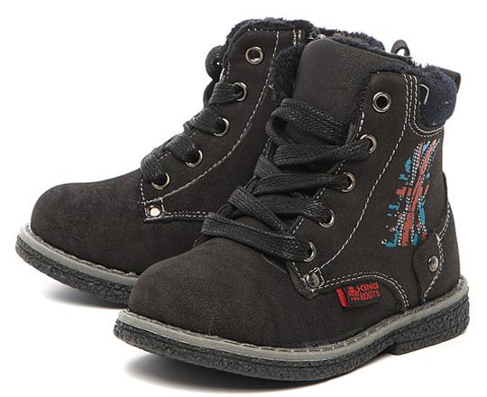 5045ff882856 Ботинки осенние для мальчика утрепленные оптом KB02115SW Schwarz KING BOOTS
